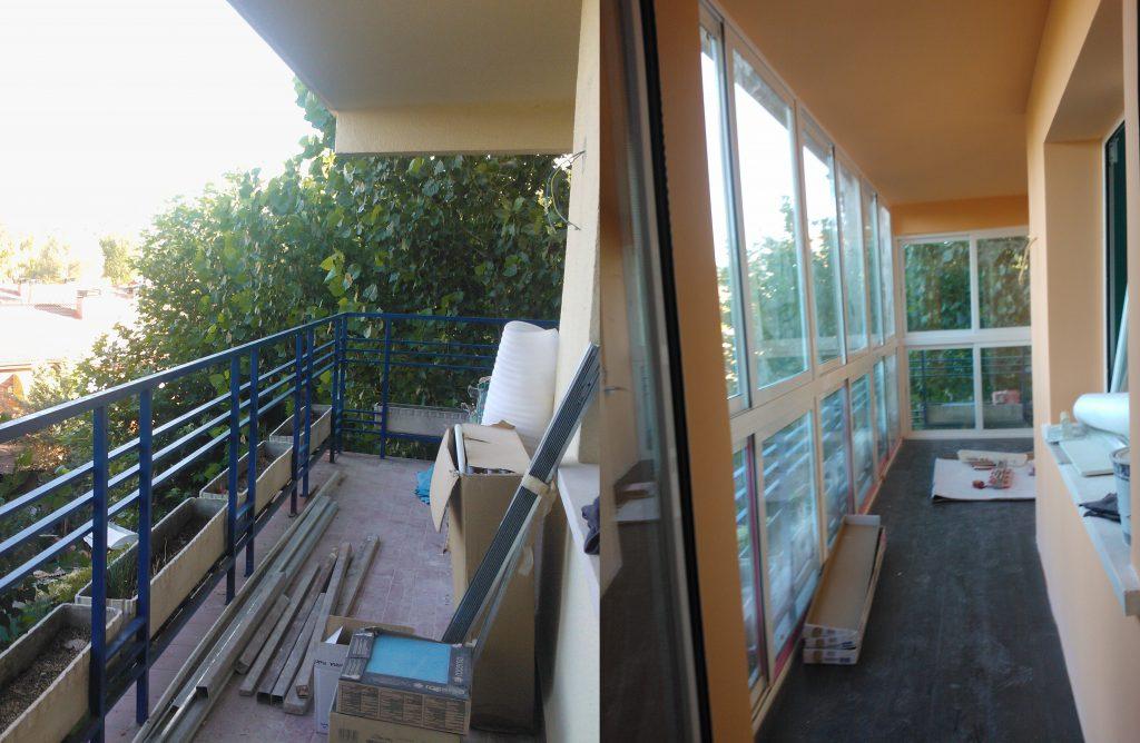 Reformas Solum: antes y después del acristalamiento de una terraza.
